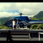 Claire boarding the helicopter piloted by Masrani to see the Indominus Rex